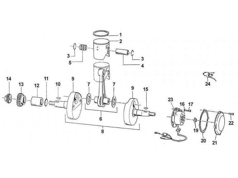tm racing piston crankshaft 250cc